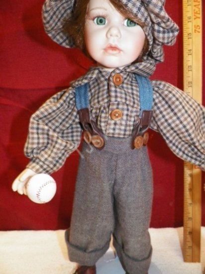 Vintage Geppedo Porcelain Boy Doll Ready for Baseball - Click Image to Close