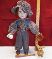 Vintage Geppedo Porcelain Boy Doll Ready for Baseball