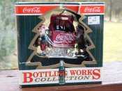 1997 2 Elves with 6 pk of Coca-Cola on a Sleigh
