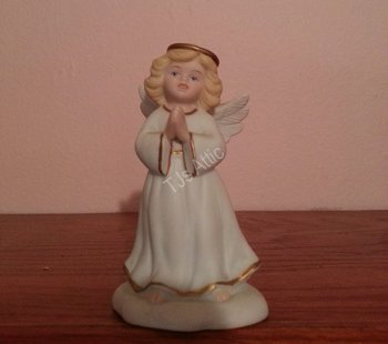 Bisque Porcelain Golden Blessing Praying Angel
