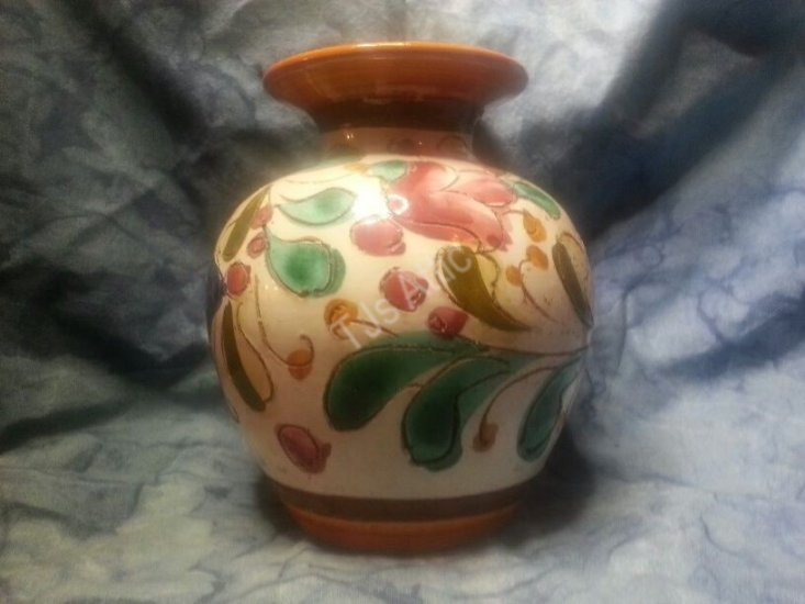 Vintage Italian Hand Painted Art Pottery Vase - Click Image to Close