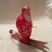 Vintage 1950's Plastic Santa on Skis