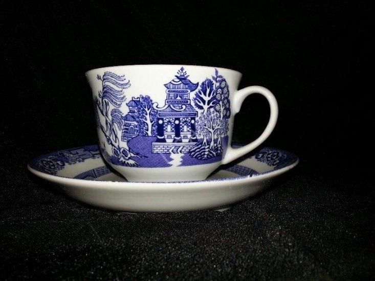 Royal Cuthbertson Blue Willow Cup With Saucer - Click Image to Close