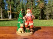 Sundblom Santa Ornament Collection Santa with Dog and Tree