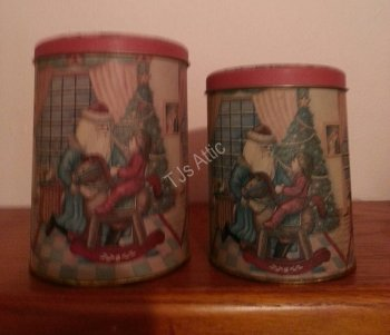 Set of Two Santa Canisters