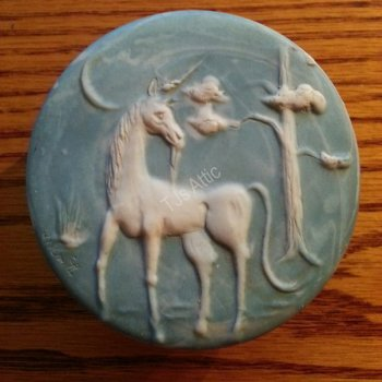 Blue Trinket Box with White Unicorn 1974