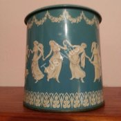 Blue & White Dancing Ladies Tin Made in England
