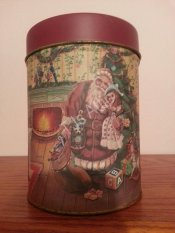 Santa and Girl by Christmas Tree Canister